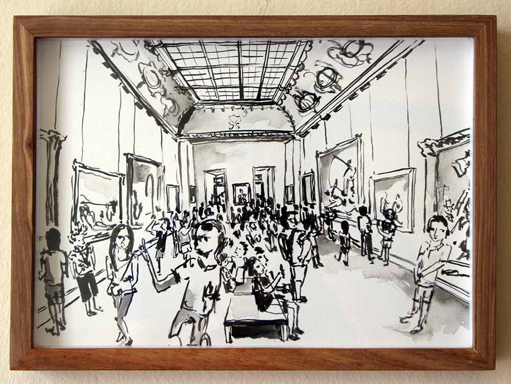 'Another Great Turnout, Louvre'   Ink Drawing & Watercolour   290 x 210 mm R 2 200 SOLD