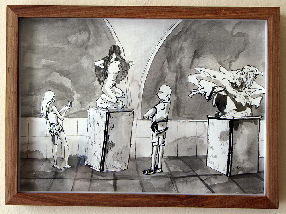 'The Room of Statues, Orsay'   Ink Drawing & Watercolour 290 x 210 m  m R 2 200