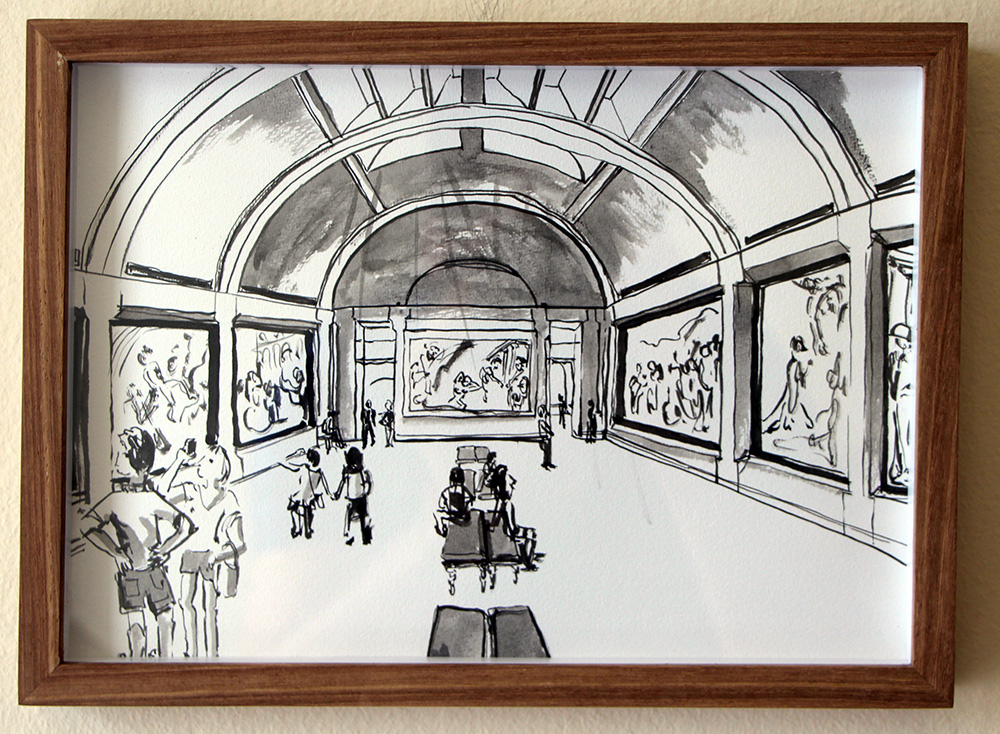 'Not a Great Turnout, Louvre'   Ink Drawing & Watercolour 290 x 210 m  m R 2 200
