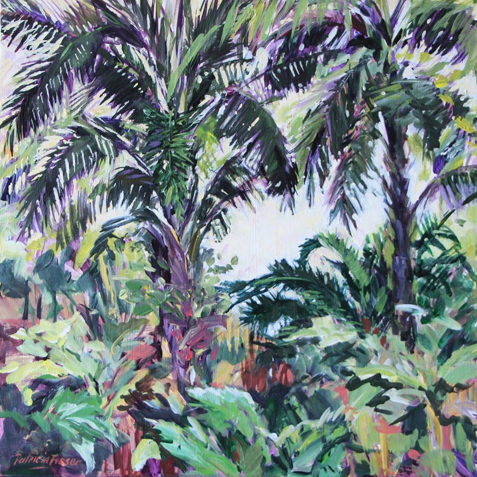 'Montebello's Nursery Garden with Palms #1' Acrylic on Board 30 x 30 cm R 2 800 SOLD