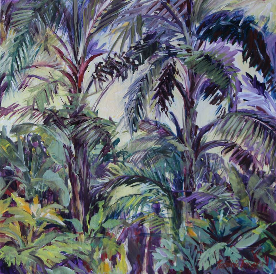 'Montebello's Nursery Garden with Palms #2' Acrylic on Board 30 x 30 cm R 2 800 SOLD