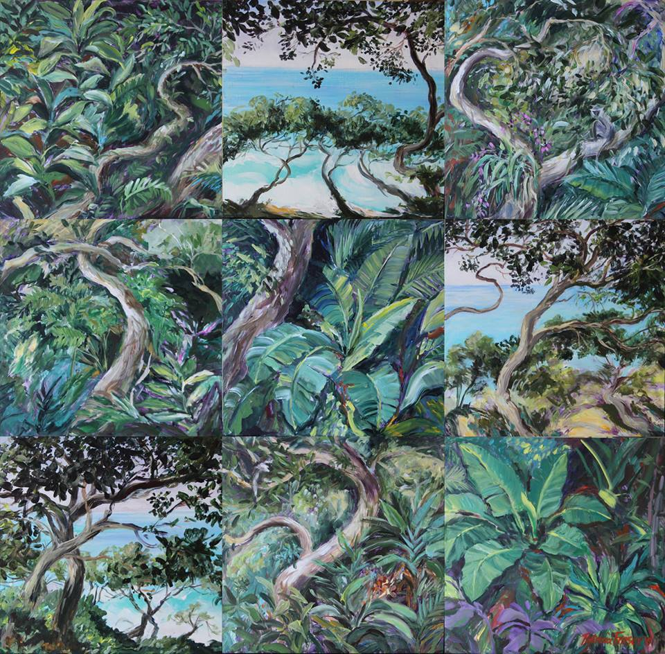'Zinkwazi Milkwoods' Acrylic on Board The work comprising of 9 individual panels, each measuring 40 x 40 cm R 24 000 SOLD