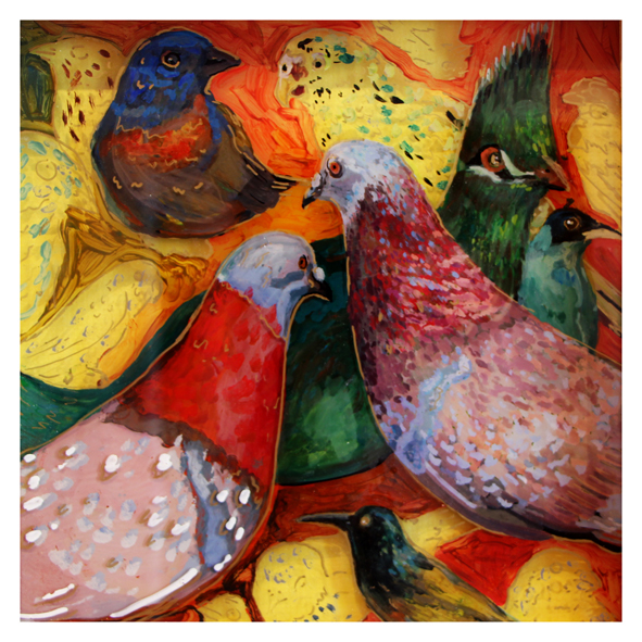 Birds of a Feather Flock Together  Mixed Media 285 x 285 mm R 2 800 SOLD
