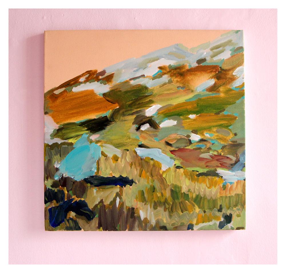 Daniella Mooney  Agtertafelberg with Corrie, Alex and Sebastian  Acrylic on Canvas 60 x 60 cm R6 500