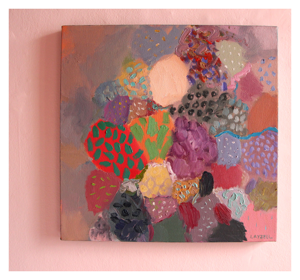 Cathy Layzell   Pearl, Coral and Stone I   Oil on Canvas 50 x 50 cm R 4 500