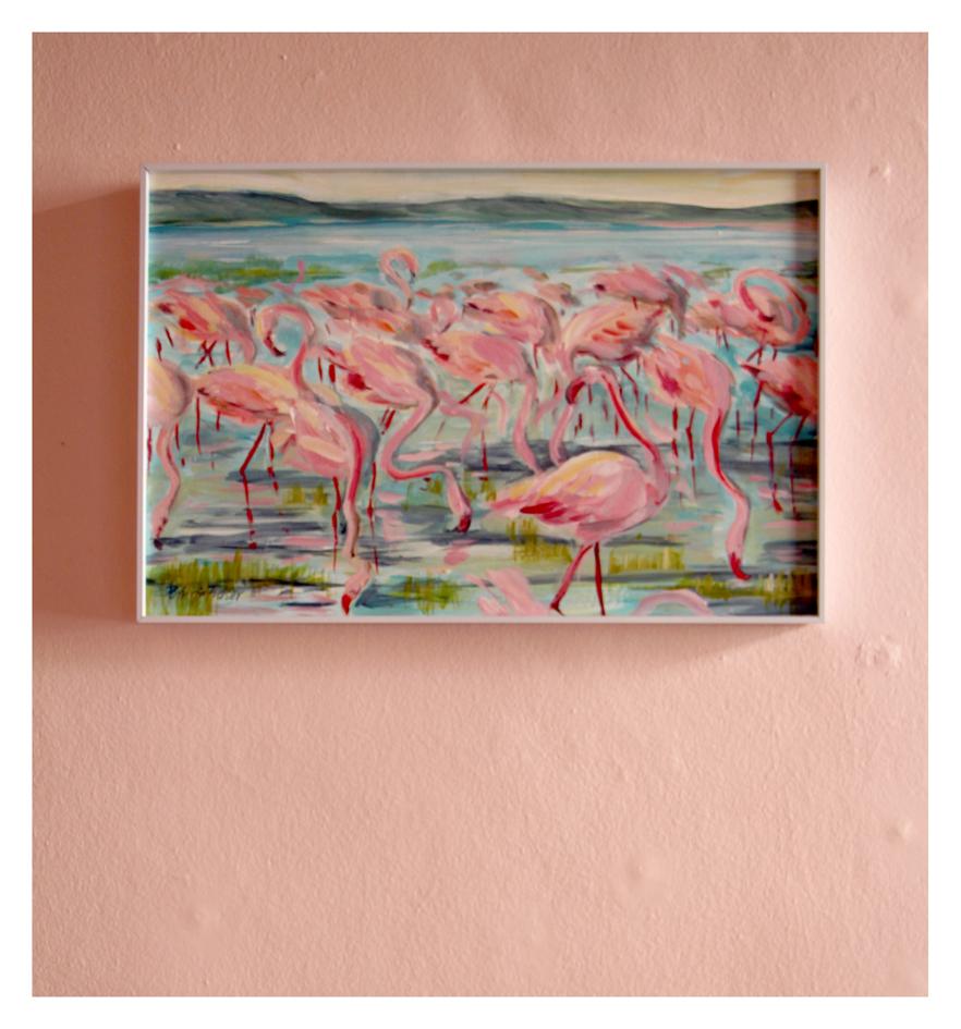 Patricia Fraser   'Flamingo I'   Acrylic on Board   34 x 55 cm   R 4 200 SOLD