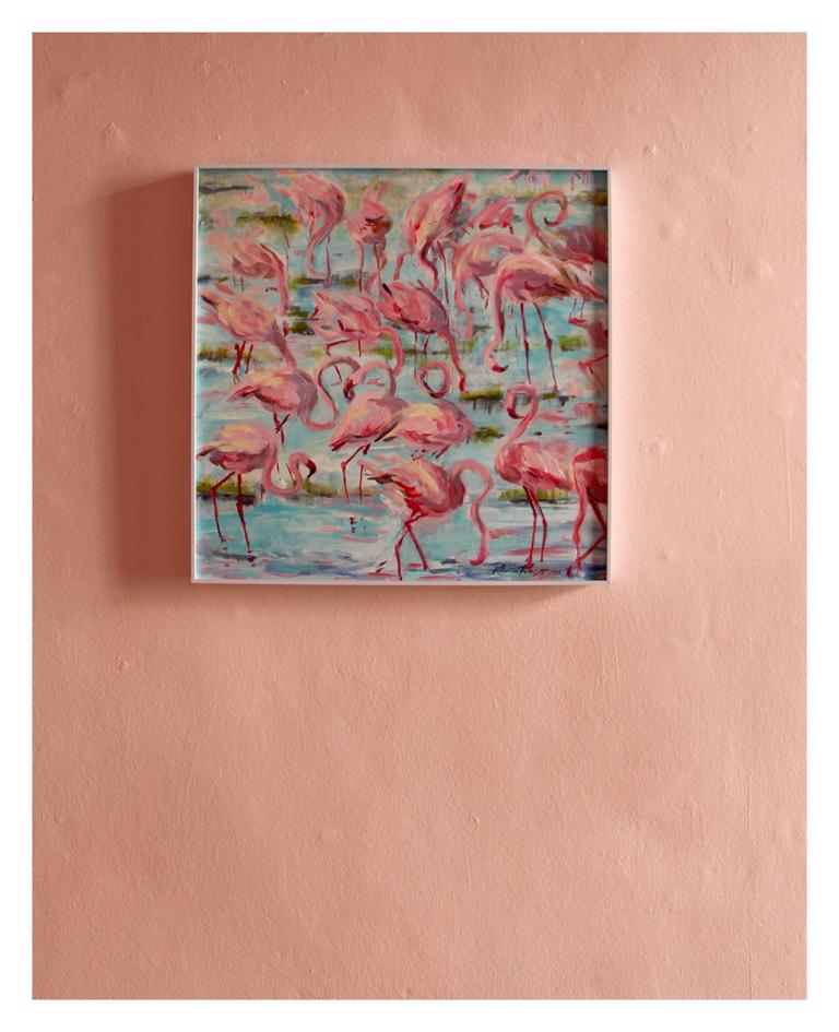 Patricia Fraser 'Flamingo II' Acrylic on Board 55 x 55 cm R 4 800 SOLD