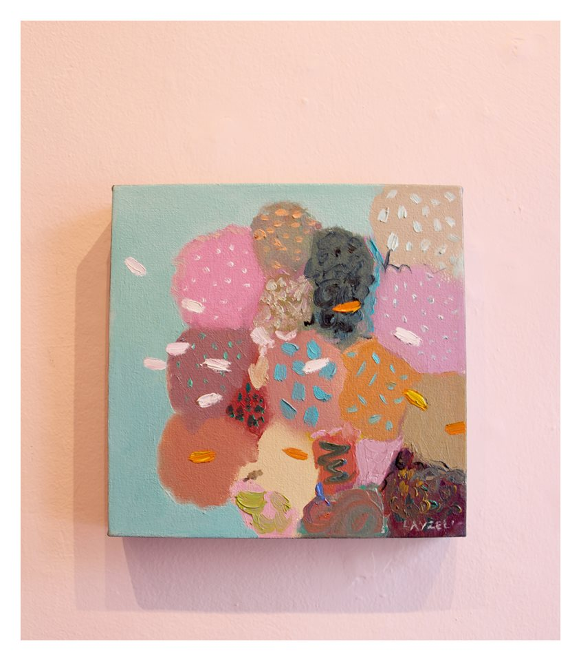 Cathy Layzell  Pearl, Coral and Stone I  Oil on Canvas 30 x 30 cm R 3 500
