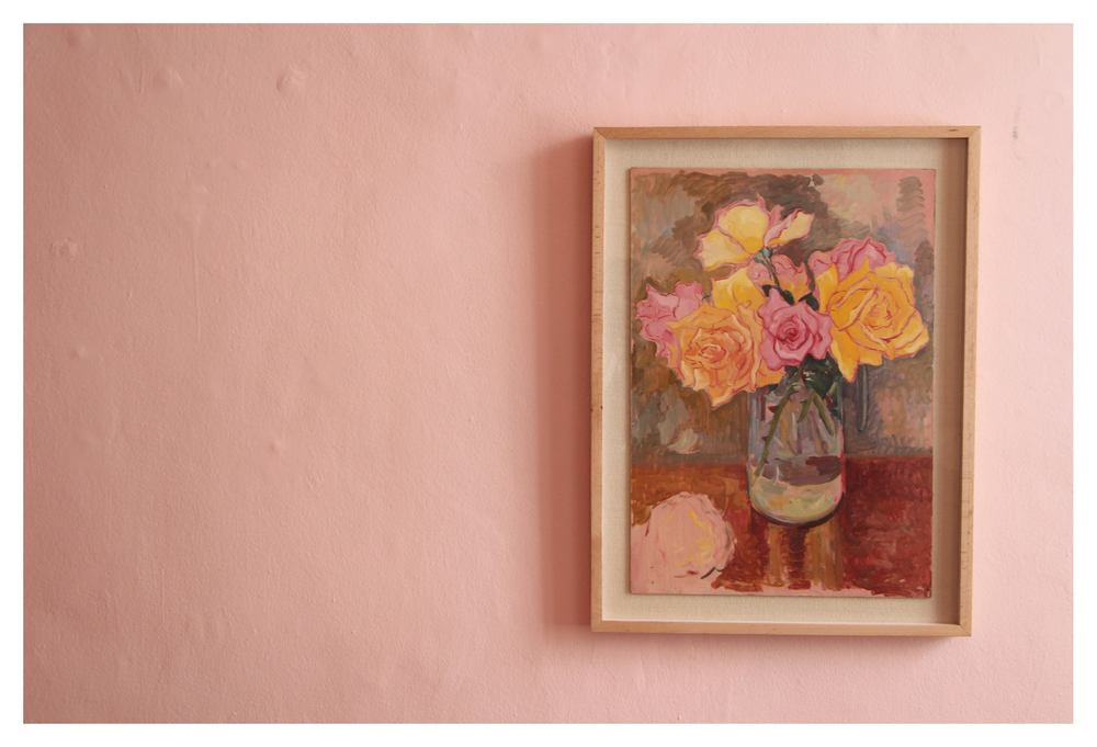 Francois Krige    Still Life with Roses, unfinished    Oil on Masonite Board   54 x 37,5 cm   R 80 000