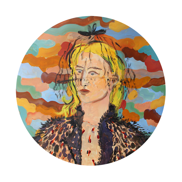 Ludwich Olivier  Blondie  Gouache on Linoleum  62.5 cm Diameter  2,000.00