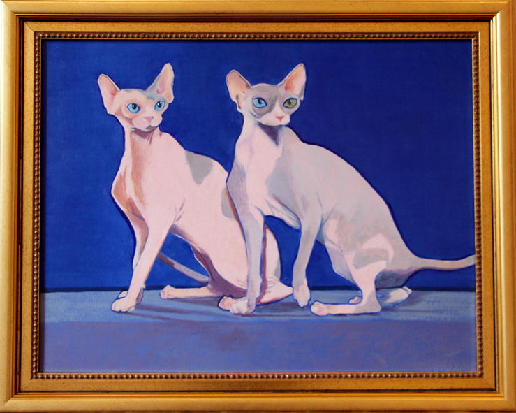 Nabeeha Mohamed  Feline Obsessions  Oil on Canvas  57 x 72 cm Framed  7,400.00