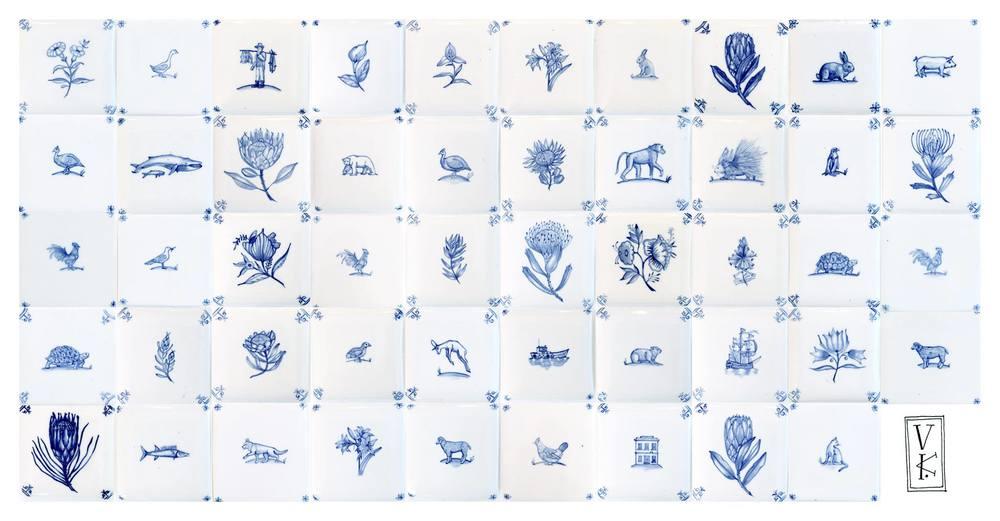 Anastasia Esterhuizen   Glazed Ceramic Delft-Style Tiles   Each +- 7.5 x 7.5cm   R220 each