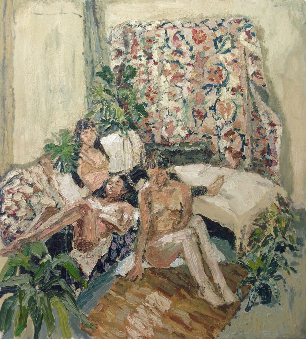 Mia Chaplin    Ashleigh, Maxime and Candice in my Studio    Oil on Canvas   84 x 76 cm   Private Collection