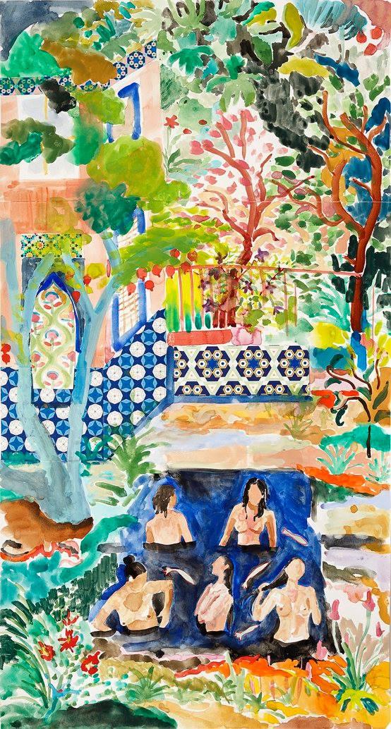 Alexandra Karamallis    Bathers    Watercolor, Gouache & Collage on Paper   84.5 x 45 cm  R 22 000    SOLD
