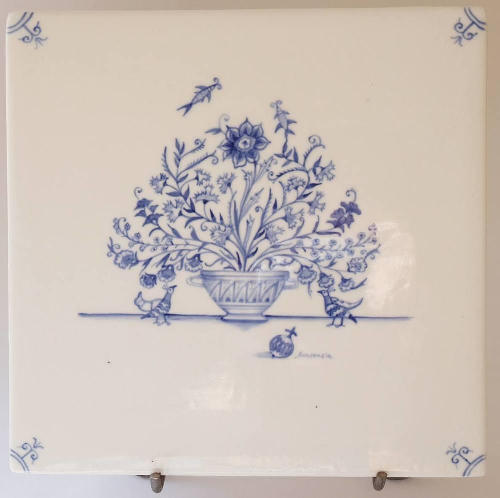 Anastasia Esterhuizen    Suzani Floral Basket I    Hand Painted Porcelain Tile   18 x 18 cm  R1600