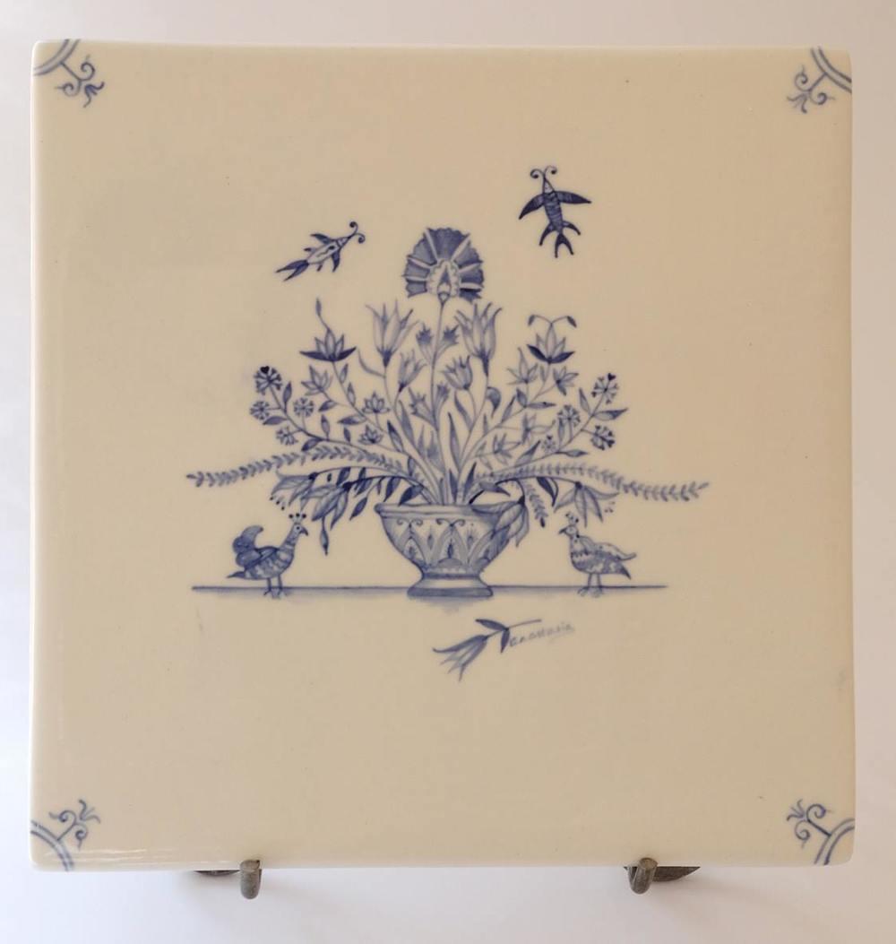 Anastasia Esterhuizen    Suzani Floral Basket I    Hand Painted Porcelain Tile   18 x 18 cm  R 1600