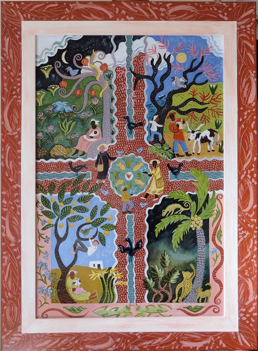 Carol Mangiagalli    Suzani in Africa    Acrylic on Board   50 x 33.5 cm  R 17 000