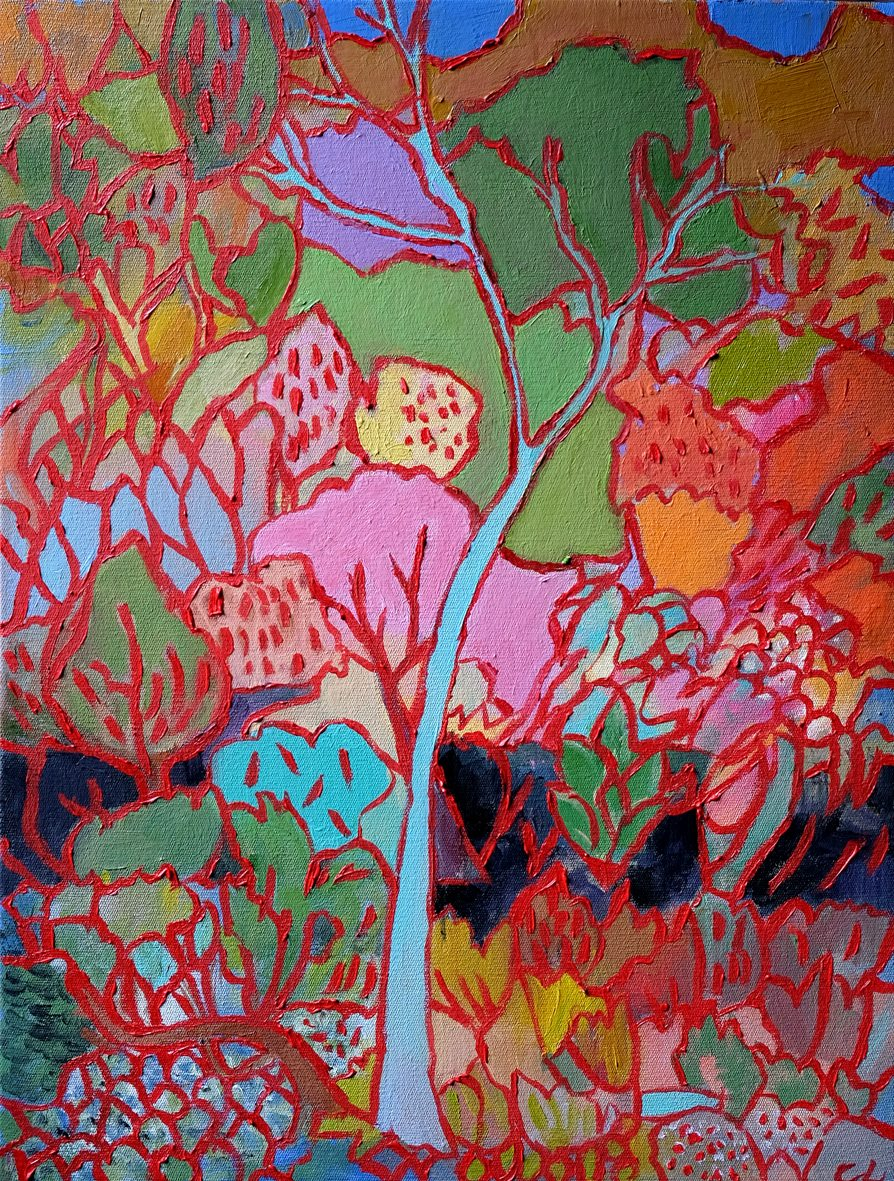 Cathy Layzell    Red Stitches    Oil on Canvas   40 x 55 cm  R 8 200