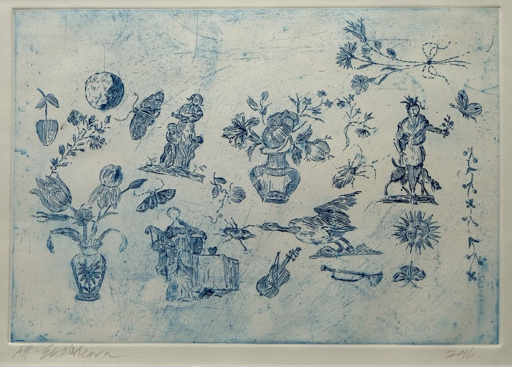 Ellalou O'Meara    Cape Sampler Inspired Etching    Hand Coloured Etching   21 x 30 cm  R 2 300