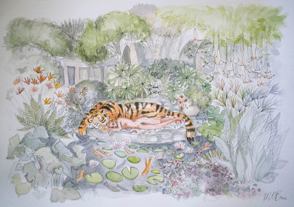 Maria Baumann    Maria's Paradise I    Water Colour & Pen on Paper    28.5 x 40.5 cm,  R 4 600