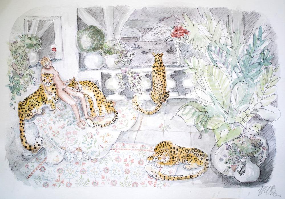 Maria Baumann    Maria's Paradise II    Water Colour & Pen on Paper    28.5 x 40.5 cm,  R 4 600
