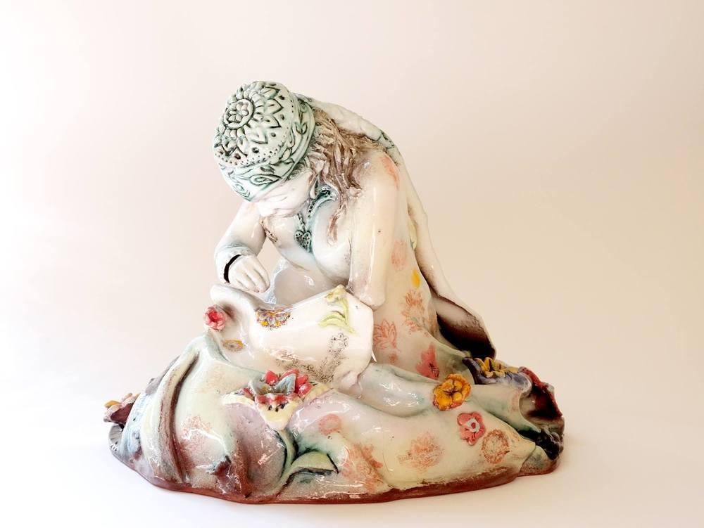 Lissa Claassens   Sewing Figure    Glazed Ceramic Sculpture   22 cm D; 15 cm H     R 6 500