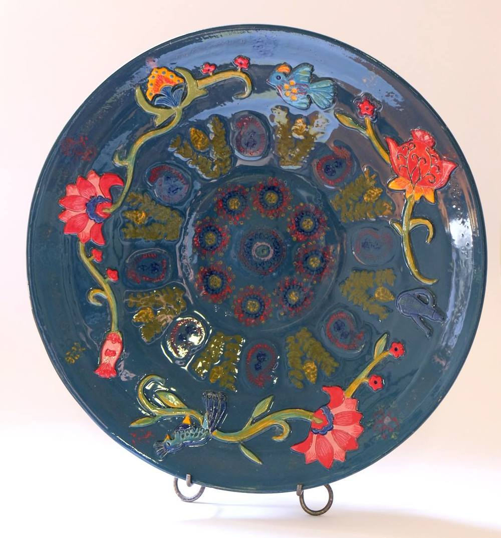 Lissa Claassens    Dish - Appliqué Teal    Glazed Ceramic Platter   39 cm D  R 3 500