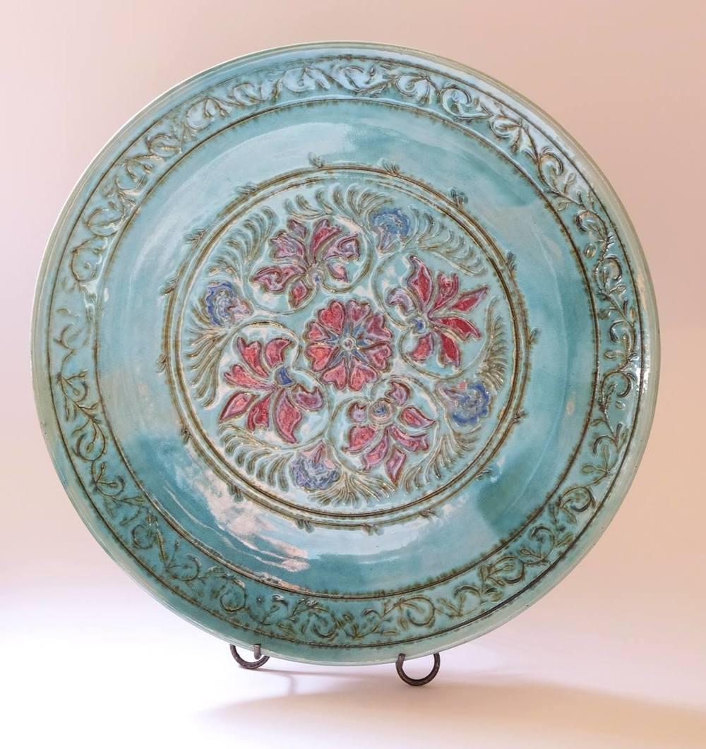 Lissa Claassens    Dish - 'Linnware' Mandala    Glazed Ceramic Platter   39 cm D  R 2 800