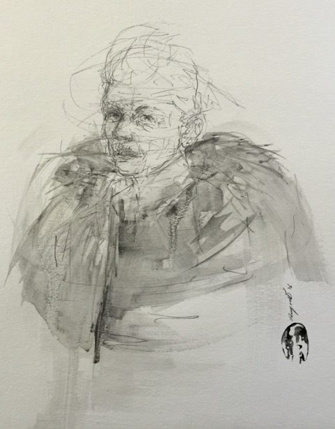 Shany van den Berg    Woman with Fur    Pencil & Graphite on Paper    R 9 500 SOLD
