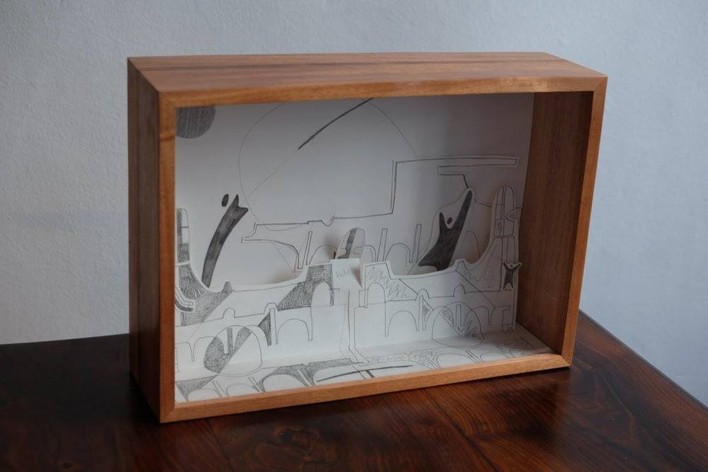 Renée Rossouw    We Live on the Moon    Diorama with Pencil   25 x 37 cm  R 5 500