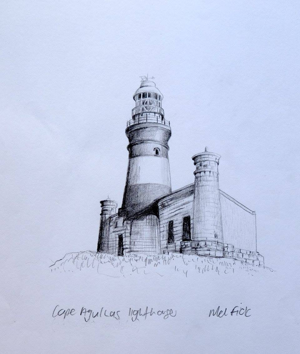 Mellany Fick    Cape Agulhas Lighthouse    Pencil on Paper    17 x 12 cm  R 2 000