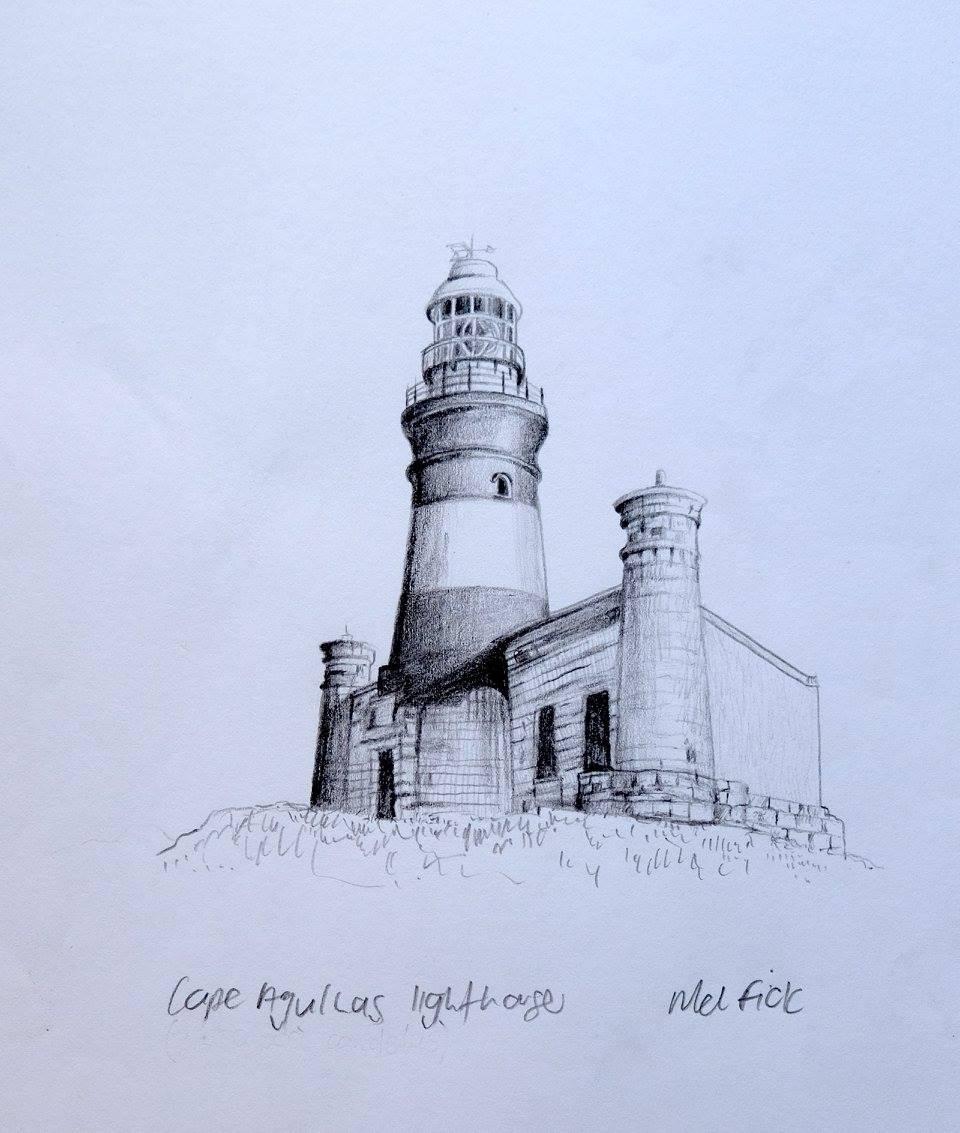 Mellany Fick    Cape Agulhas Lighthouse    Pencil on Paper    17 x 12 cm  R 2 000