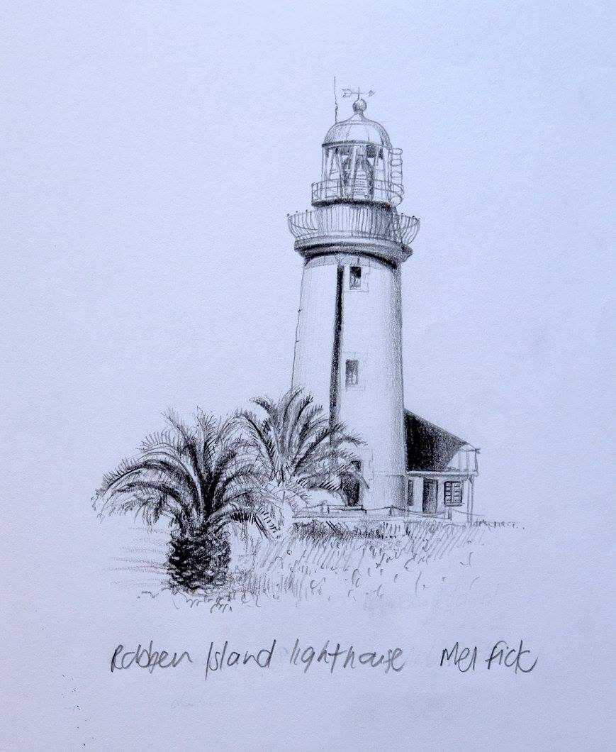 Mellany Fick    Robben Island Lighthouse    Pencil on Paper    17 x 12 cm  R 2 000