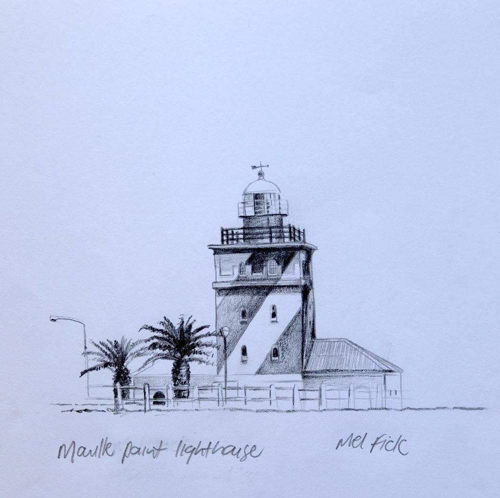 Mellany Fick    Mouille Point Lighthouse    Pencil on Paper    17 x 12 cm  R 2 000