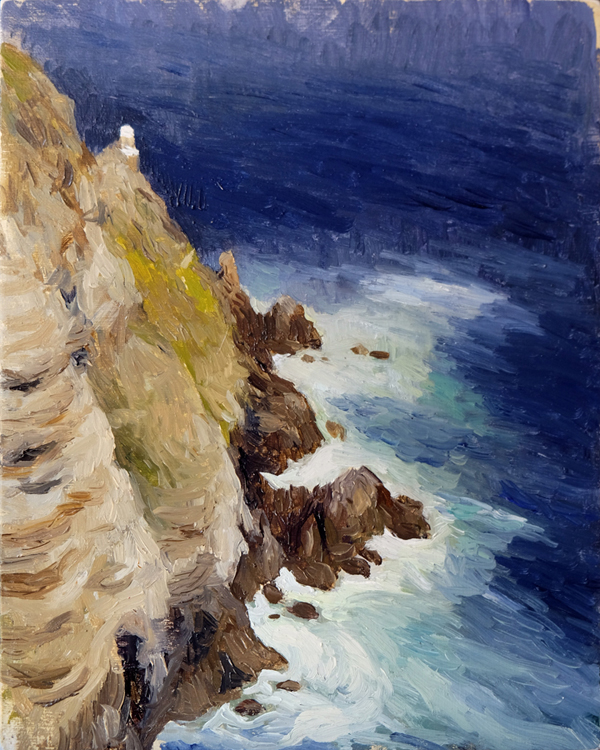 "Oliver Scarlin   ""Cliffs, Cape Point""  Oil on Panel  25 x 20cm  R6800"