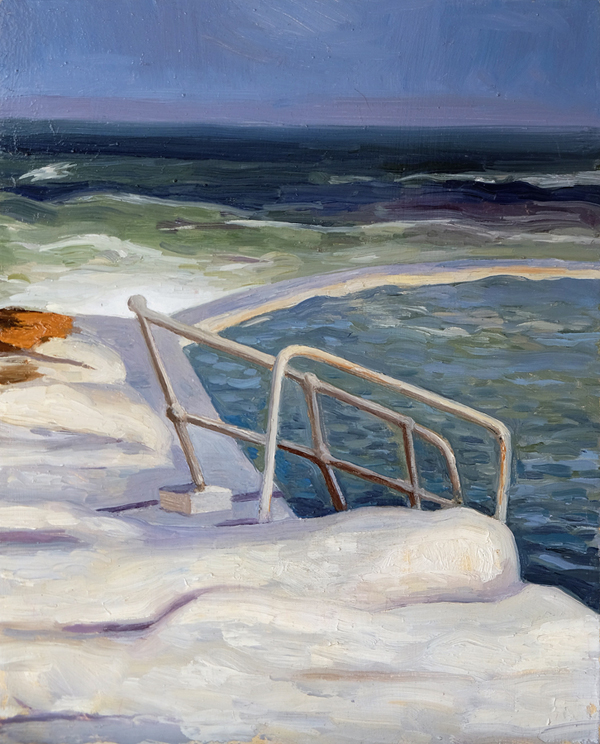 "Oliver Scarlin   ""Dalebrook Pool Steps, Kalk Bay""  Oil on Panel  25 x 20cm  R4800"