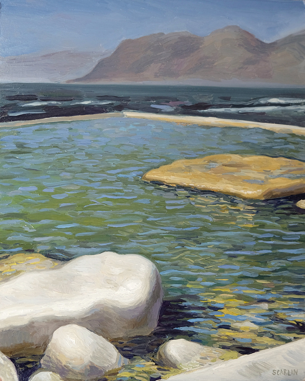 "Oliver Scarlin   ""Dalebrook Pool, Kalk Bay""  Oil on Panel  30 x 25cm  R6400"