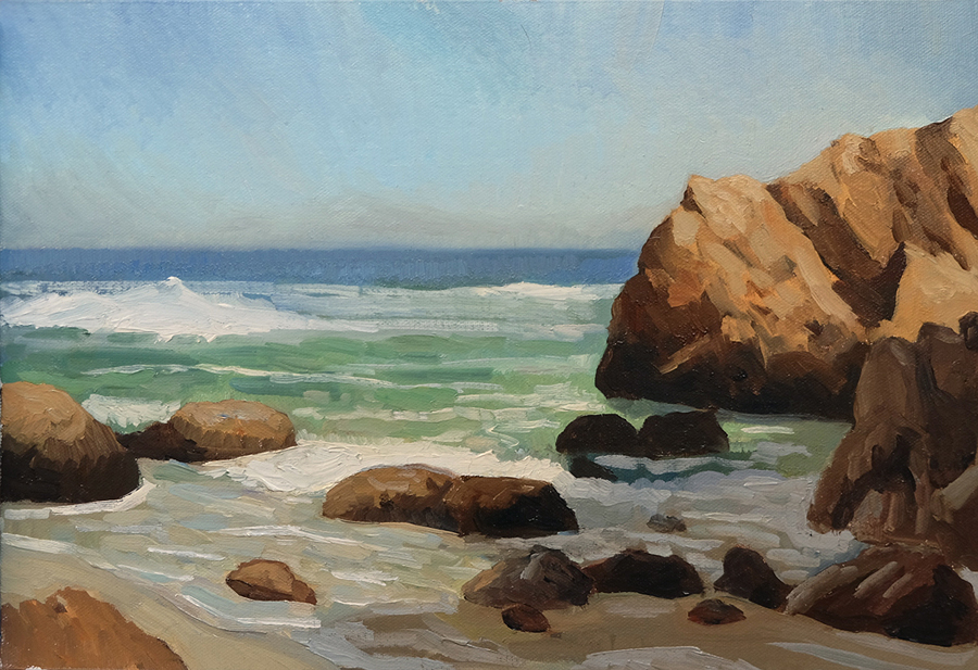"Oliver Scarlin   ""Dappat se Gat, Kogelbaai""  Oil on Panel  20 x 26cm  R8200"