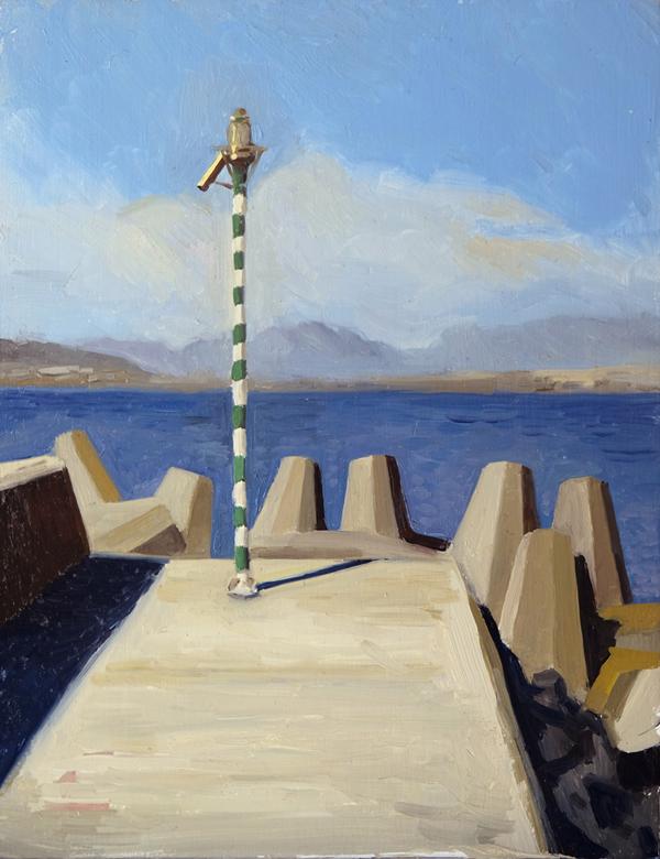 """Oliver Scarlin   """"Jetty, Granger Bay""""  Oil on Panel  26 x 20cm    R4800"""