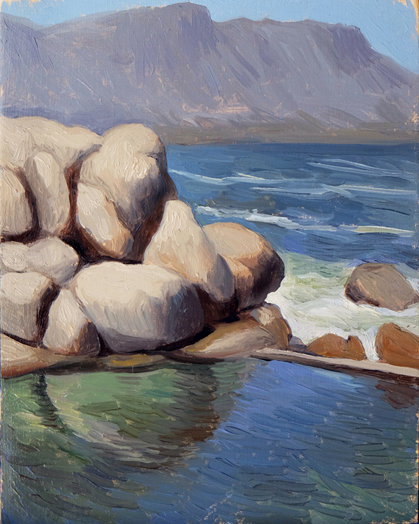 "Oliver Scarlin   ""Maiden's Cove Pool, Clifton""  Oil on Panel  25 x 20cm  R6200"