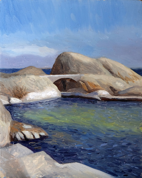 "Oliver Scarlin   ""Miller's Point Pool, Simon's Town""  Oil on Panel  25 x 20cm  R5800"