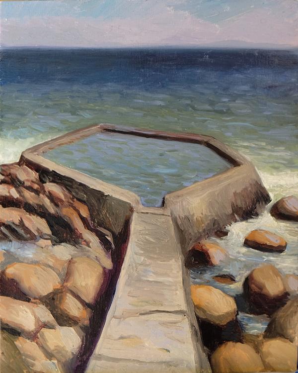 """Oliver Scarlin   """"The Nun's Pool, Gordon's Bay""""  Oil on Panel  25 x 20cm  R4800"""