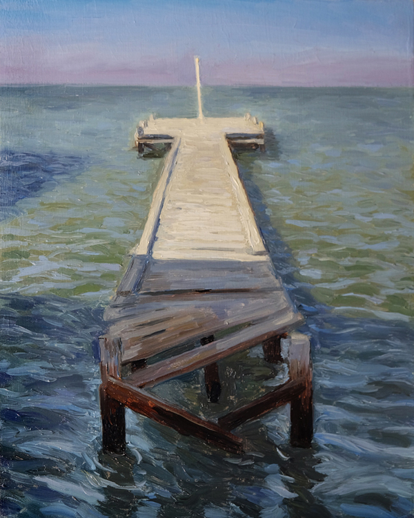 "Oliver Scarlin   ""Pavilion Jetty in Shadow, Strand""  Oil on Panel  30 x 25cm  R5200"