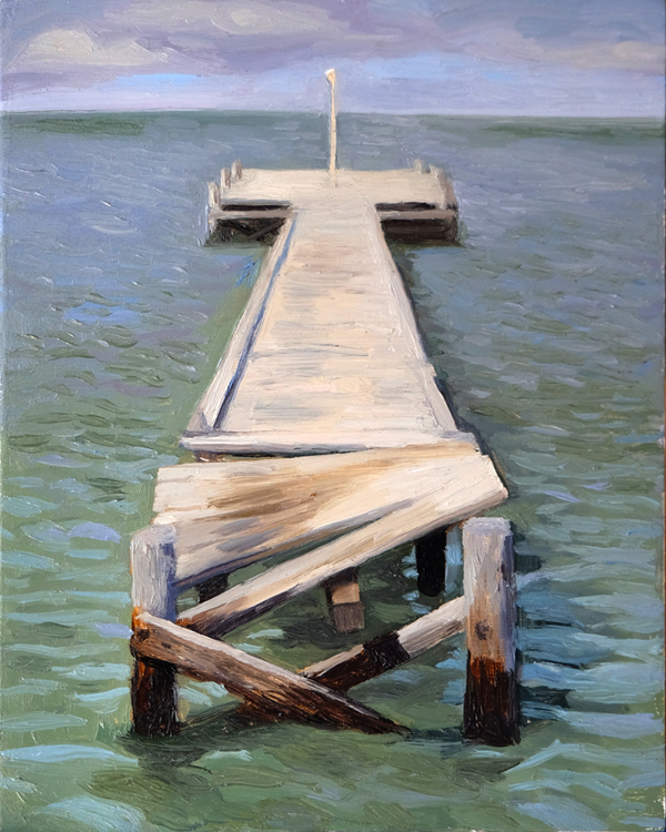 "Oliver Scarlin   ""Pavilion Jetty, Strand""  Oil on Panel  25 x 20cm    R4800"