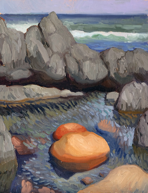 "Oliver Scarlin   ""Rock Pool, Paranoia Beach""  Oil on Panel  26 x 20cm     R6200"
