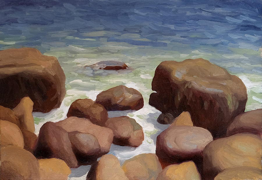 "Oliver Scarlin   ""Rock and Surf, Gordon's Bay""  Oil on Canvas Board  20 x 25,5cm  R5400"