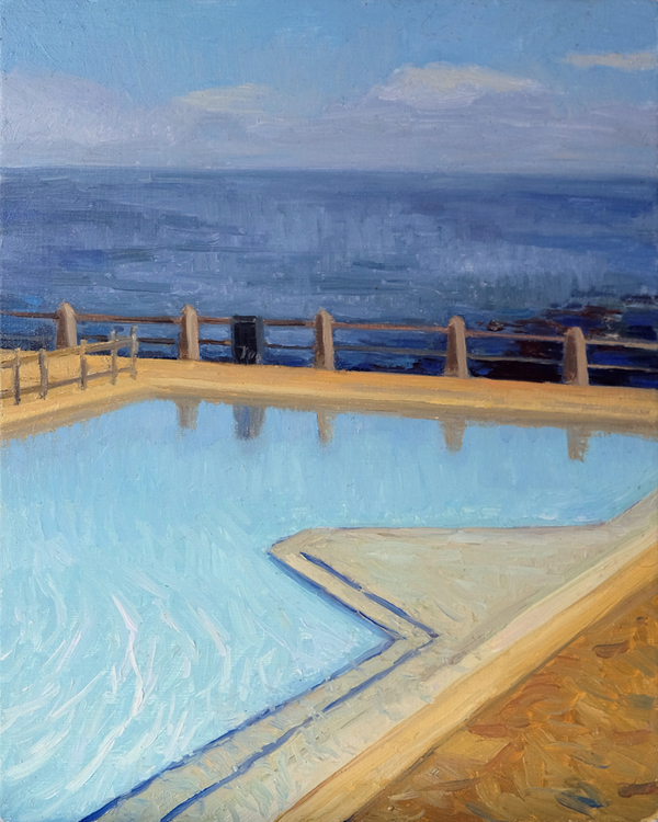 "Oliver Scarlin   ""Sea Point Pool""  Oil on Panel  25 x 20cm  R4800"
