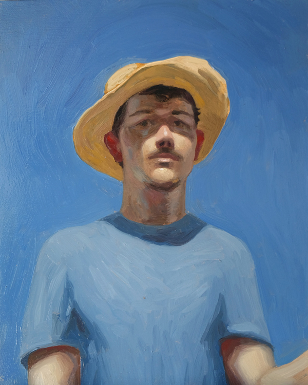 "Oliver Scarlin   ""Self-Portrait Sketch in Morning Sun""  Oil on Panel  25 x 20cm     R5400"