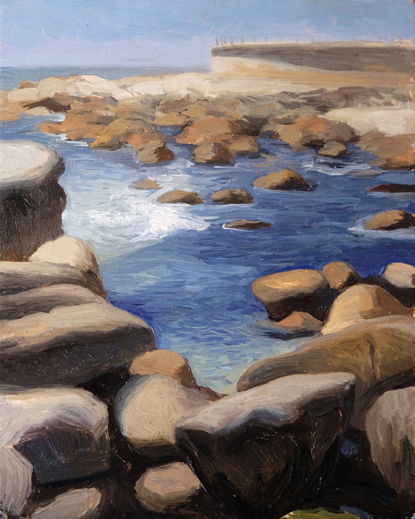 "Oliver Scarlin   ""View from Saunder's Rock, Sea Point""  Oil on Panel  25 x 20cm  R6400"