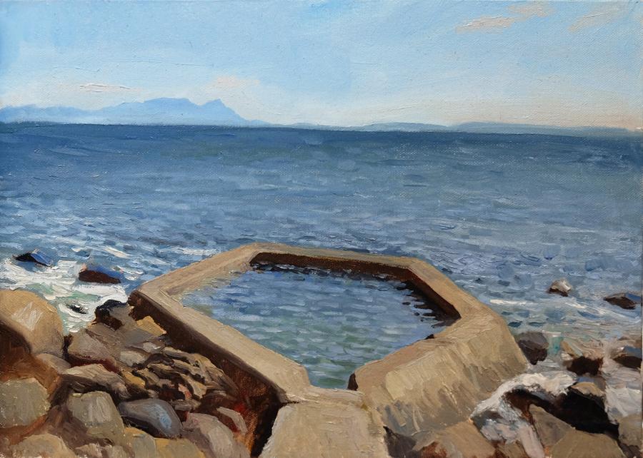 """Oliver Scarlin   """"Nun's Pool, Gordon's Bay""""  Oil on Panel  25 x 35,5cm  R5200"""